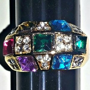 Goldtone Multi-Color Stone Ring Size 7